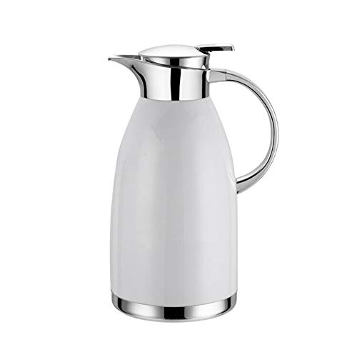 e tisch wei  matt QAQ Kessel 304 Edelstahl Doppelschicht Vakuum Isolation Kaffeemaschine Haus,White,1.8L