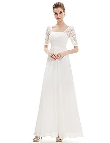 Ever Pretty Damen Halber Arm Quadratischer Kragen Faltenwurf Taile Lange Abendkleider 40 Weiß EP08038WH08