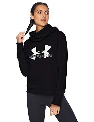 Under Armour Damen Fleece (Under Armour Damen Cotton Fleece Sportstyle Logo Hoodie Oberteil, Black/White/Graphite (001), MD)