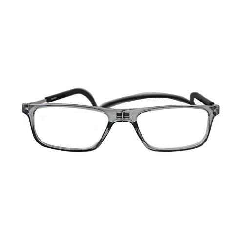 VCB 360 Grad faltende hängende Lesebrille Sehhilfe Lesehilfe Brille - grau (100 °)