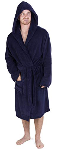 CityComfort Albornoz Hombre súper Suave para Hombre XL, Azul Marino con Capucha