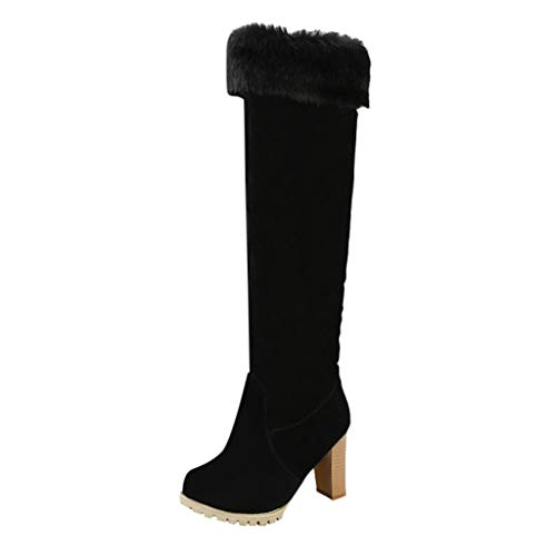MOTOCO Frauen Boots Keen High Boots Damen Overknee Matte Wildleder Blockform Dicke warme Schuhe(41 EU,Schwarz) -