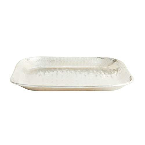 Madam Stoltz Tablett gehämmert in Silber, silberfarben Metallic Look, Maße 36x36cm -