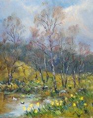 Butterworth Fine Art schottischen Grußkarte-Birke und Narzissen - Daffodil Fine Art