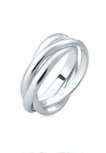 Elli Schmuck Ring Wickelring Damen in hochglanzpoliertem 925 Sterling Silber\nRinggröße 52