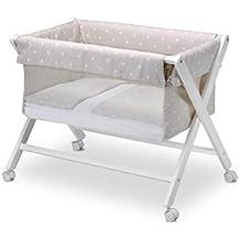 Pirulos 28900510 - Vestidura minicuna, diseño stars, algodón, color blanco y lino