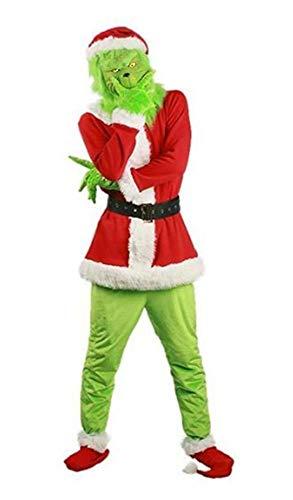 Erwachsene Kostüm Halloween Für Grinch - MingoTor Herren Cosplay Kostüm Christmas Weihnachten Carnival Outfit Party Suit Grün/Rot M