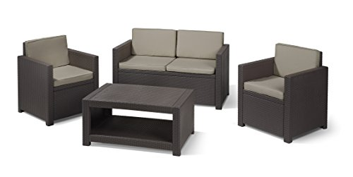 Allibert Lounge Set Garten, Monaco, Braun, 4-teiliges Lounge Set in Rattanoptik, bequeme Lounge Balkonmöbel