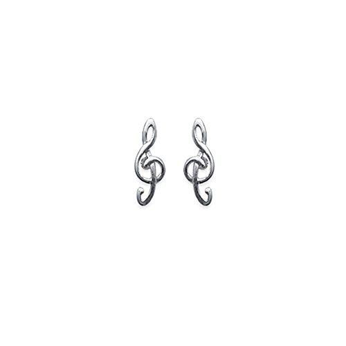 Ohrringe Sterling Silber 925/000rhodiniert–Notenschlüssel–12mm–Notenschlüssel,–Musik Musiklehre