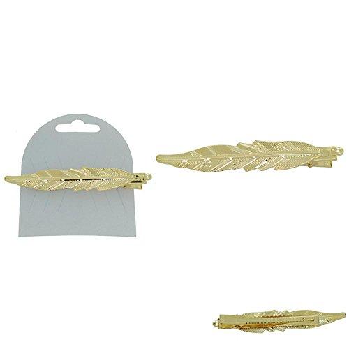 Barrette pour Cheveux en Métal Doré - Forme de Feuille - 10cm
