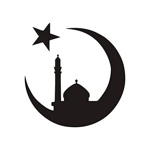 LIOOBO Auto Aufkleber Decals Muslim Ramadan Muster Selbstklebende Malerei wasserdichte PVC Autokörperdekor für Zimmer Wand Auto Decor (Schwarz) -