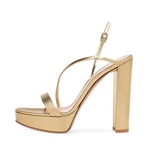 GHFJDO Damen Glänzende Sandalen, Heels Stripper Schuhe Sandale Mit Knöchelriemen Plateaufersen, Damen Block High Heels,Gold,44EU