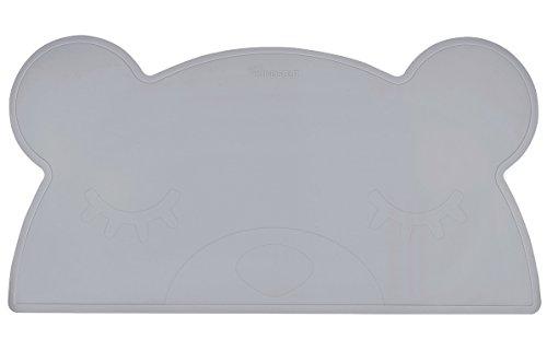 Kindsgut tovagliette, set da tavolo, sottobicchiere in silicone per bambini, lavabile, antiscivolo, tovaglietta sottopiatto in silicone a forma di orsetto, grigio scuro