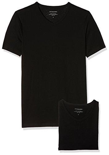 JACK & JONES Herren T-Shirt Jacbasic V-Neck Tee SS 2 Pack, 2, Schwarz (Black Black), Small (2 Pack V-neck T-shirts)
