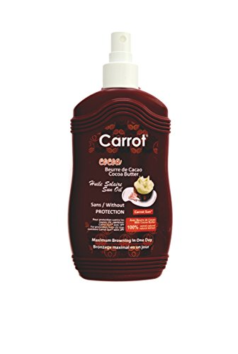 Carrot Sun® Cocoa Butter Tan Accelerator Spray Oil with Cocoa Oil & L-Tyrosine for a GOLDEN tan-FAST! 200ml