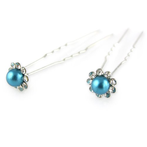 Deep Turquoise - Painted Faux Pearl - Crystal Cut Jeweled Petals - Double Prong - Hair Pin - 2 Piece Set (Jeweled Haarspangen)