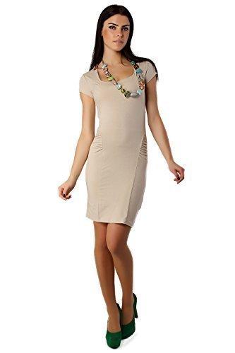 Futuro Fashion élégant Mini Robe Femmes Col Carré Moulante Cocktail Unique Taille 8-12 UK 8914 Beige