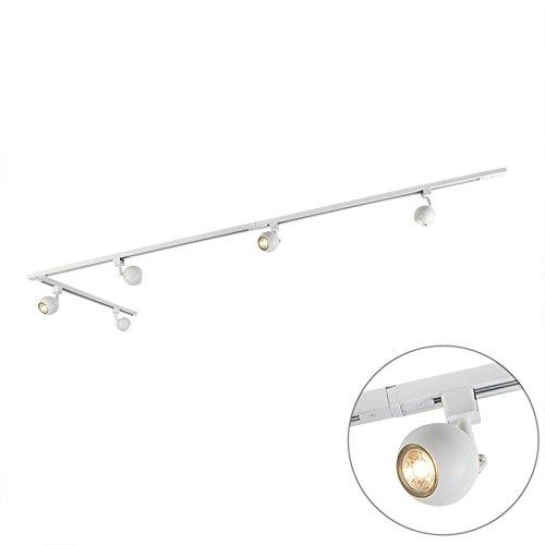 QAZQA Modern Schienensystem/Spotlight/Deckenspot/Deckenstrahler/Strahler Gissi 5-flammig weiß/Innenbeleuchtung/Schlafzimmer Aluminium/Stahl Länglich LED geeignet GU10 Max. 5 x 50 Watt