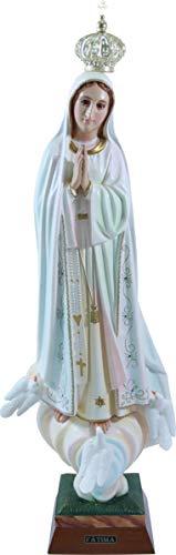 Desconocido Estatua de la Virgen de Fátima con Acabados Brillantes Altura cm. 65. Adecuado para ambientes Exteriores e Interiores. Fabricado en Resina. Fabricado y Fabricado en España.