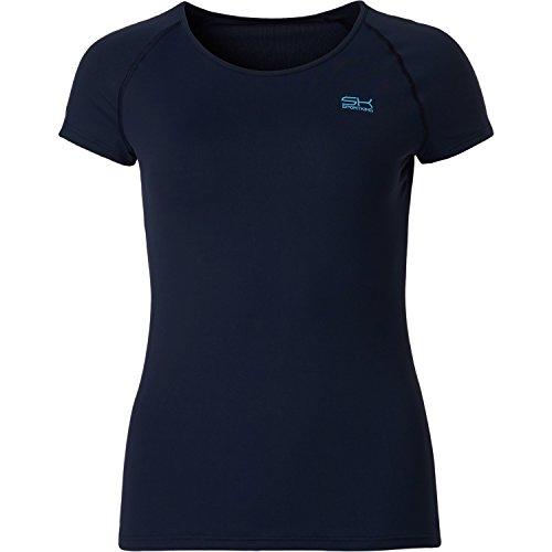 Sportkind Mädchen & Damen Tennis / Fitness / Sport T-Shirt, navy blau, Gr. M