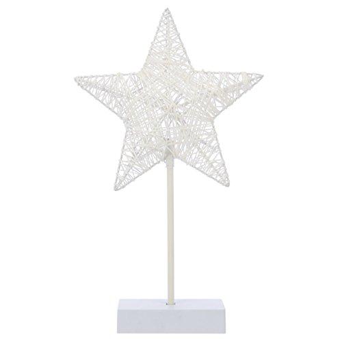 10 LED Dekoleuchte Stern in Rattanoptik warm-weiß Rahmen weiß Batterie Höhe 40 cm Dekostern Weihnachtsdeko Lichterstern Weihnachtsstern mit Sockel