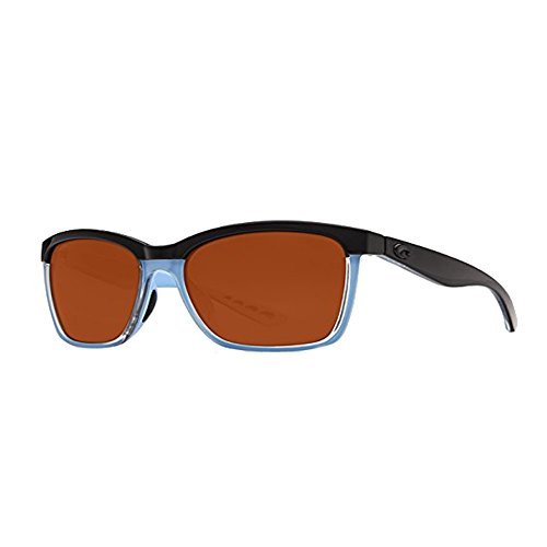Neue Costa del Mar ANA97OCGLP Womens Black Frame Brown Objektiv Wrap Sonnenbrille
