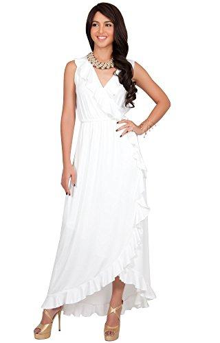 KOH KOH® Damen Elegantes Ärmellos V-Ausschnitt Maxi Kleid Sommer Beach Party Flattern Strand Elfenbein Weiß