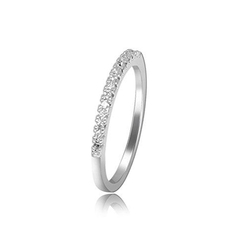 Tinksky anillos de boda perla platino anillo solitario anillo de compromiso anillo de bodas, regalo para las mujeres, 16mm Diamante