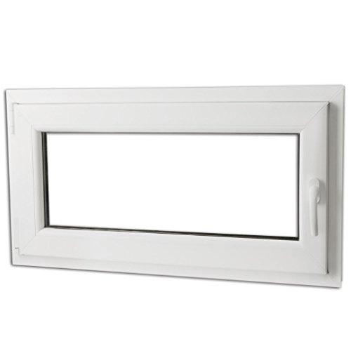 Preisvergleich Produktbild Festnight 3-in-1 PVC Fenster Drehkippfenster Kellerfenster mit 2 Fach Verglast Rechtsseitig Griff 900x500mm