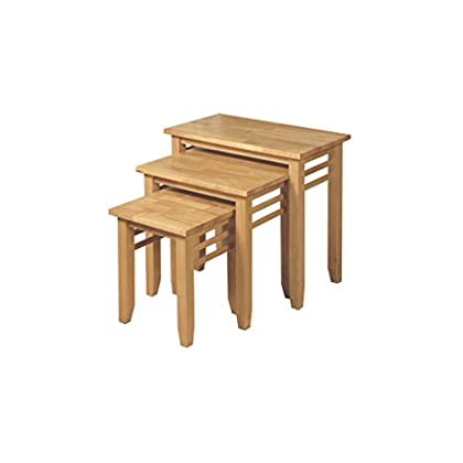 Hawaii Solid Hardwood Nest of 3 Tables - Set of 3 Nesting Tables - Finish : Light Oak - Living Room Furniture