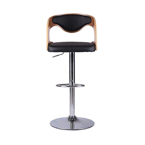 Walnut Black Barhocker Dreh- und drehbarer Barhocker mit Holz- und PU-Rückenlehne Continental Hochstuhl Verstellbarer Lift Front Desk Chair Hochhocker mit Metallbeschichtung und super-elastischem Schwamm (Nussbaum Barhocker Metall)