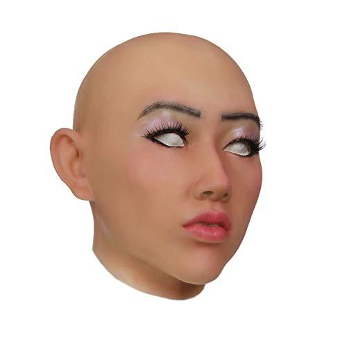 XDRESSER Transvestiten Crossdresser Silikon Maske Frauenmaske komplette Maske Transgender für Frauen und Herren Menge: 1 Stück hautfarbe ()
