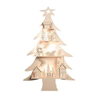 The Christmas Workshop – Decoración de Navidad (8 ledes, funciona con pilas, madera, diseño de ciudad y árbol de Navidad)