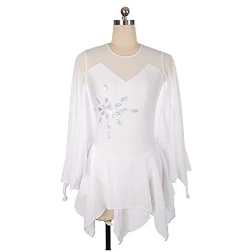 XIAOY Wettbewerb Kostüm Langärmelige Handarbeit Eiskunstlauf Kleid für Mädchen Damen Eislaufen,White,S