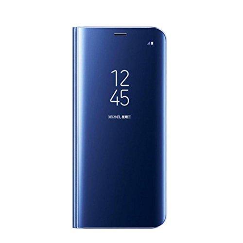 Coque pour Samsung Galaxy Note 9 Coque Clear View Case Etui Flip Clair Transparente Anti-Empreintes Housse Plating Mirror Téléphone Portable Couverture Standing pour Note 9 (Note 9, Bleu)