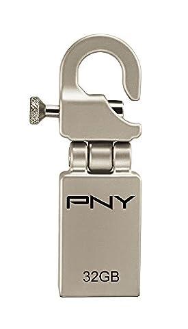 PNY Micro Clé USB 32 Go Hook Attaché Argent