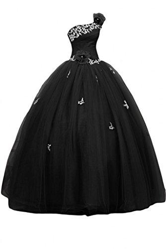 Fanciest Women's Eine Schulter Appliques Lila Quinceanera Kleid Ball Lang Abendkleider Ballkleid Black