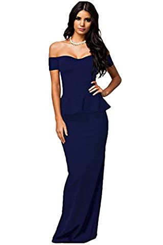 Bling-Bling Womens Blue Peplum Maxi Dress With Drop Shoulder Size