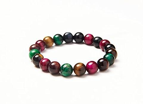 SUNNYCLUE Bracelet extensible en pierres précieuses naturelles multi oeil de tigre 8mm Perles rondes environ 7