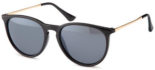 Vintage Sonnenbrille im angesagtem 60er Style mit trendigen bronzefarbenden Metallbügeln Brillentrends (schwarz-ohne-Verlauf)