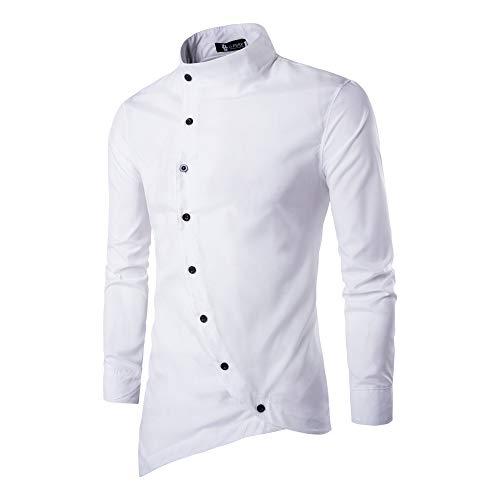 Langärmeliges Hemd, Herren, Button-Down-Shirt, langärmelige Bluse, lässige unregelmäßige Tops, schmale Passform, stylische Partys -