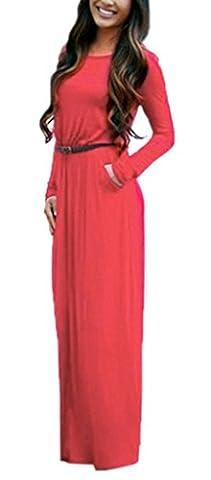 Bigood Robe Longue Femme Col Rond Manche Longue avec Ceinture Casual Soirée Cocktail Mariage Rouge Bust 94cm