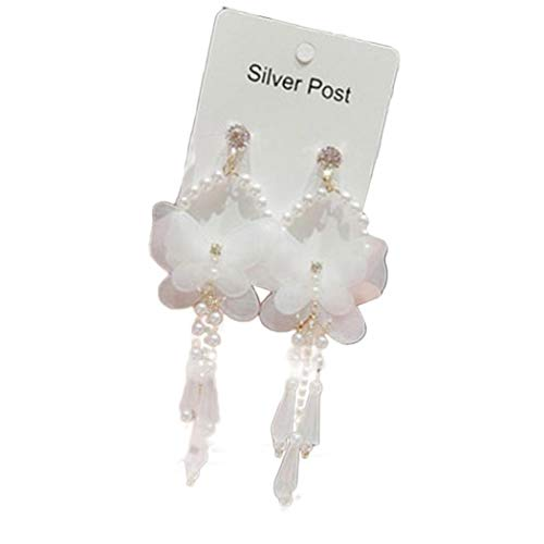 Frau Drop lange Troddelohrring große weiße Chiffon- Schmetterlings-Perlen-Ohrringe 1 Paar Chiffon Drop