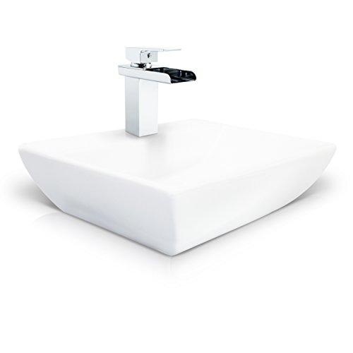 VENKON - Keramik Waschbecken mit NANO Beschichtung / Universale Waschschale für Wand- oder Tischmontage - reinweiß, ca. 450 x 135 x 350 mm