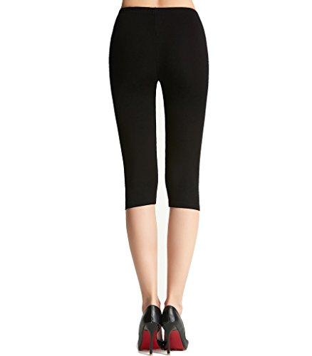 Liang Rou Damen Capri Leggings Mini-gerippt Elastisch Ultra-dünn Schwarz