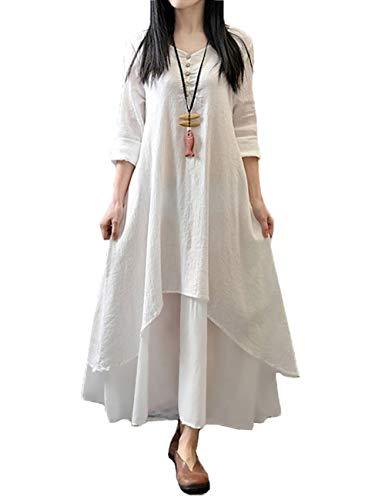 Romacci Femme Robe en Vrac Maxi Manches Longues Col V Boho A-Lin Tunique Lace Large Casual Longue, Blanc, XX-Large