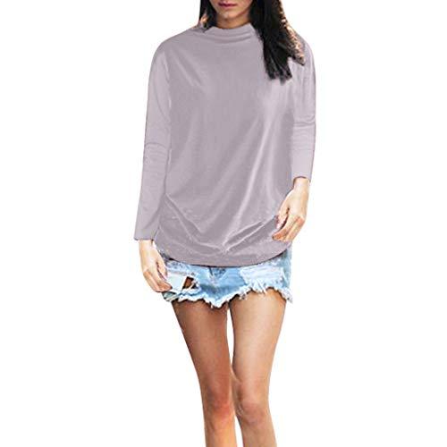 GOKOMO Frauen Rollkragen Langarm Baumwolle Solide Lässige Bluse Top T-Shirt Plus Size Langärmliges Damenhemd mit hohem Kragen(A,Medium)