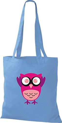 Punkte hellblau streifen Owl niedliche Bunte Eule Stoffbeutel ShirtInStyle Tragetasche Farbe mit Karos diverse Jute Retro 6aqUW0