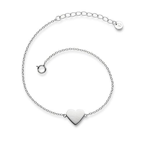 Glanzstücke München Damen-Armband Herz Sterling Silber 17 + 3 cm - Armkettchen mit Herz-Anhänger Silberkettchen Silber 925 Herzarmband