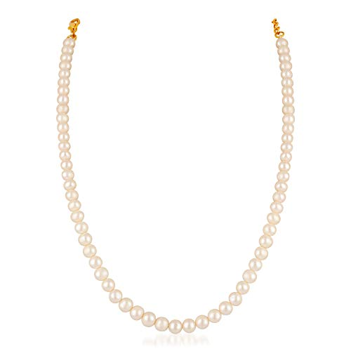Mahi Gold Plated Graceful White Fresh Water Pearl Necklace for Girls and Women NL1103733GWhi